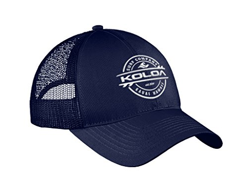Bill Logo Cap - Joe's USA Koloa Surf Thruster Logo Old School Curved Bill Mesh Snapback Hat-Navy/w