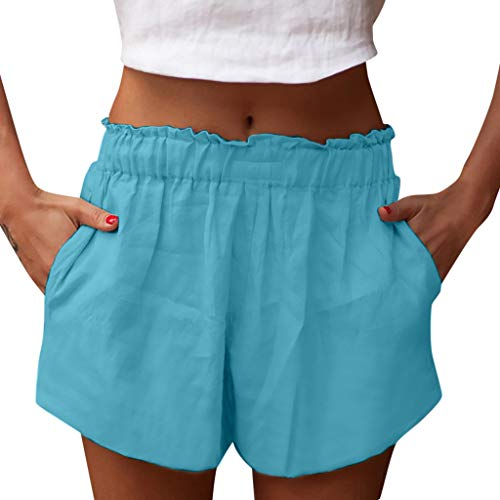 (hositor Womens Shorts, Ladies Shorts Pants Casual Loose Cotton Pants Girls Solid Color Shorts Wear Pant Blue)