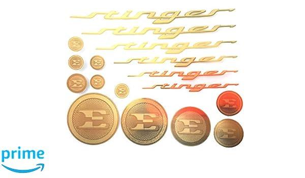 Stinger Text /& E Logo Emblem Gold Color Metal Sticker For Kia Stinger 2018~2019+