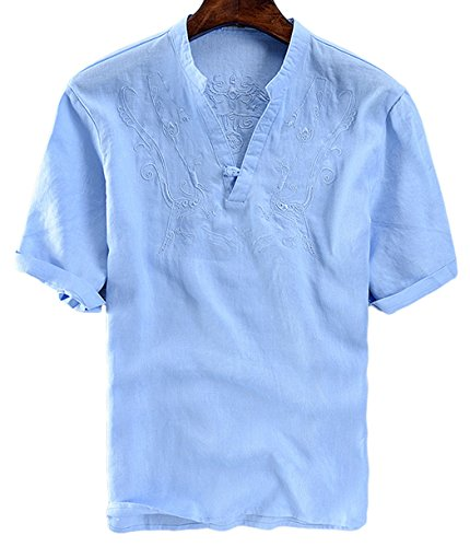 utcoco Men's Retro Frog Button V-Neck Embroidery Linen Henley Shirts Short Sleeve (XX-Large, Blue)