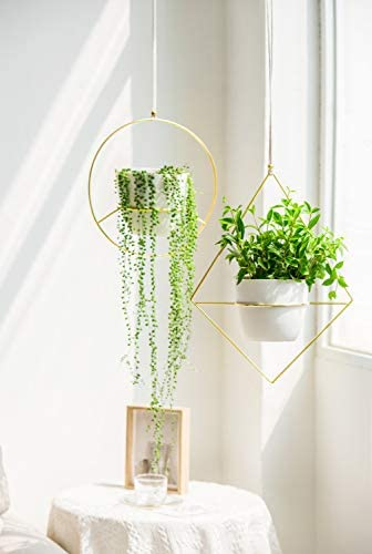 Mkono 2 Pcs Plant Hanger – A Diamond A Circle Shape, Metal Hanging Planter Modern Home Decor, Fits Large 6 Inch Planter, Gold Flower Pot NOT Included