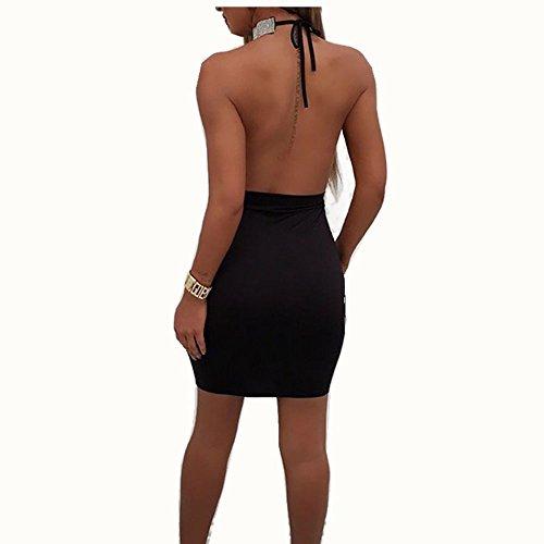 delle Keephen estate perforazione Vestito di posteriore cristallo partito del della Bodycon spaccatura della di del dalla catena di da Nero sexy Halter parte del donne fasciatura vestito di rFTtnqfrx