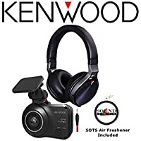 Kenwood DRV-410 HD Dash Camera & Safety Sensor with KH-KR900 Over the Ear Headphones and a FREE SOTS Air Freshener