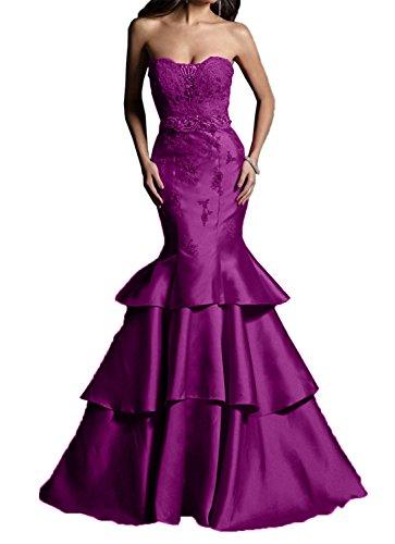 Braut mia Abschlussballkleider Spitze Meerjungfrau Brautmutterkleider Abendkleider Festlichkleider Fuchsia Dunkel La Glamour Traegerlos aBqC55w