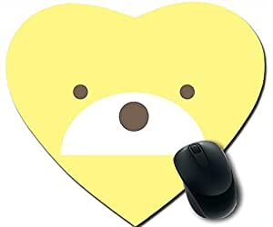 DIY Gaming Non-slip Heart-shaped Mouse Pad Mat with Blue Cute Bear,Blue Rubber Mouse Pad Mat Dimension in 240*210*2mm