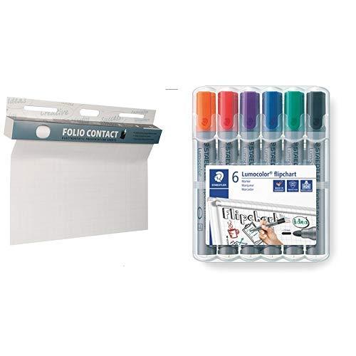 2 mm Linienbreite Rundspitze ca Set mit 6 Farben Folio Contact Flipchart: die patentierte elektrostatische Flipchartfolie /& Staedtler Lumocolor 351 WP6 Whiteboard-Marker