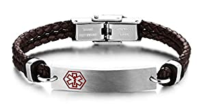 JF.JEWELRY Customize Medical ID Alert Bracelets for Women Braided Leather Cord Bracelets-Adjustable