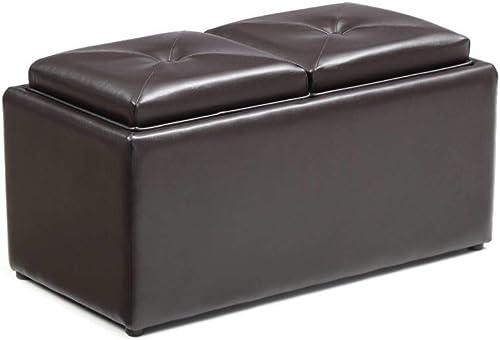 Hodedah Faux Leather Ottoman
