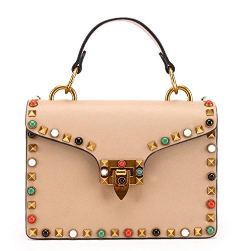 Bolsa para mujer XinMaoYuan Nail-Shoulder Keskin Bolsa Bolso Color puro estilo Horizontal tipo cubierta de laca encapsulado cuadrado pequeño Rosa
