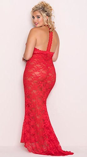 Dreamgirl Lipstick - Dreamgirl Women's Plus Size Stretch Lace Gown Bridal Set, Lipstick Red, 2X