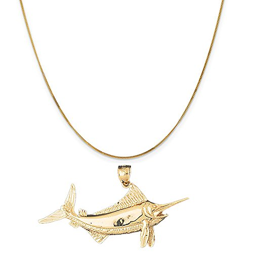 14k Yellow Gold Marlin Pendant on a 14K Yellow Gold Curb Chain Necklace, 20