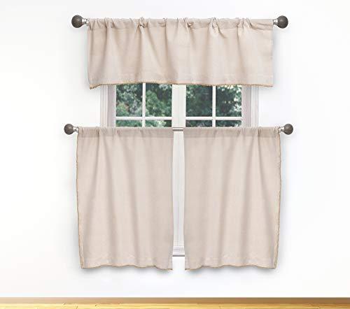 Vera Neumann Nakita Metallic Textured W/Tassel Curtain Valance Set for Small Kitchen Window, Cafe, Bath, Laundry or Bedroom, 58 X 15 Inch, Linen-Gold