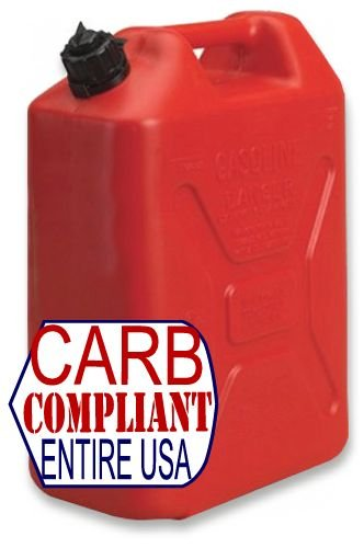JEEP-STYLE 5 GALLON POLYETHYLENE GAS CAN w/ nozzle (DOT, CARB and EPA approved for all 50 states)