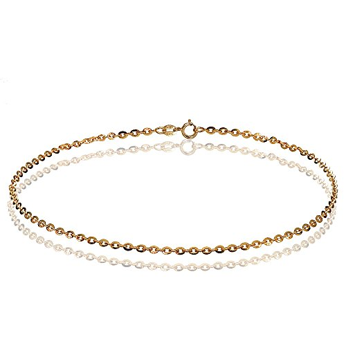 Bria Lou 14k Rose Gold 1.4mm italian Diamond-Cut Cable Chain Anklet, 9 Inches by Bria Lou