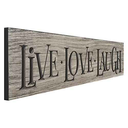"""Engraved Wooden Inspirational Art Wall Plaque – """"Live Love Laugh"""" Rustic Home Decor With Weathered Gray Look – Handcrafted in the Amish Community in USA From Real Pine Wood, 24 ()"""