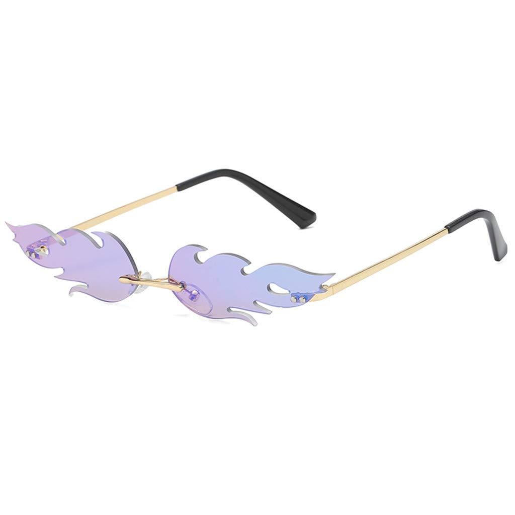 Toimothcn Man Women Irregular Flame Shape Sunglasses Glasses Vintage Retro Style