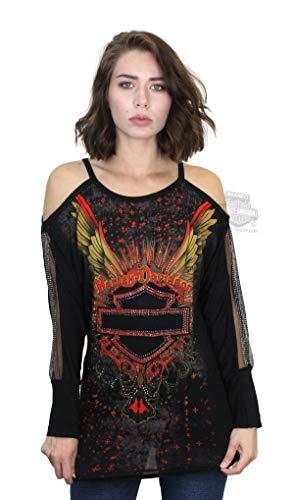 Harley-Davidson Womens Moms Spaghetti Winged B&S Bling Black 3/4 Sleeve T-Shirt (Medium) ()