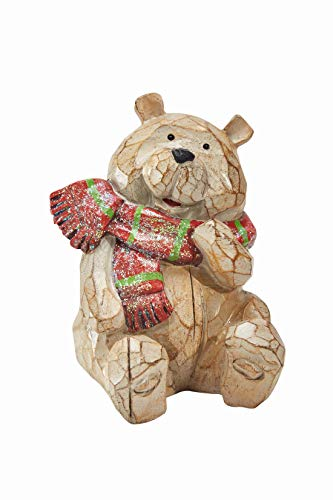 Premium Carved Bear for Christmas Table Decor, Bear Christmas Decorations Perfect for Holiday Indoor Decorations, Outdoor Party Tables Decoration, Unique Christmas Home Decorations (Unique Outdoor Tables)