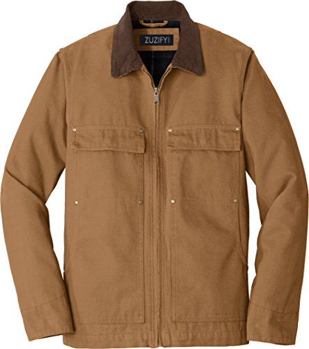 Washed Duck Work Flannel (ZUZIFY Insulated Flannel Lined Washed Duck Cloth Chore Coat. SM1125 L Duck Brown)