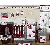 Sweet Jojo Designs 9-Piece Red and White Polka Dot Ladybug Baby Girl Bedding Crib Set