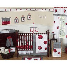 - Sweet Jojo Designs 9-Piece Red and White Polka Dot Ladybug Baby Girl Bedding Crib Set