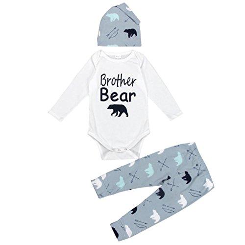 Mono bebé Amlaiworld Recién Bebé Niños niñas Oso Impresión 3 piezas Trajes Conjunto Blanco