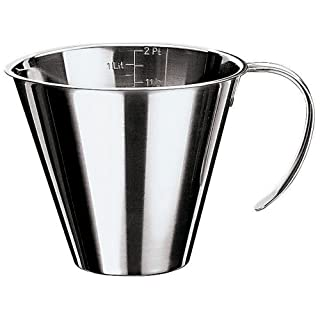 Paderno World Cuisine 6-5/8-Inch Diameter Stackable Stainless Steel Measuring Jug
