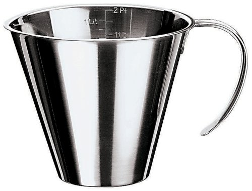 Paderno World Cuisine 5-7/8-Inch Diameter Stackable Stainless Steel Measuring Jug