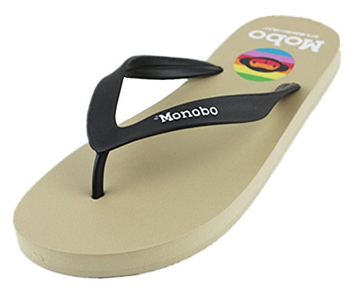 Sfnld Mens Classic Open Toe Thong Flip Flops Summer Beach Sandals Khaki clNPUJyhq