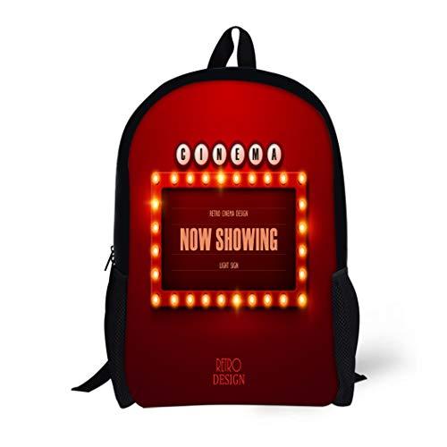 Pinbeam Backpack Travel Daypack Colorful Cinema Retro Light Sign Vintage Casino Bulb Waterproof School -