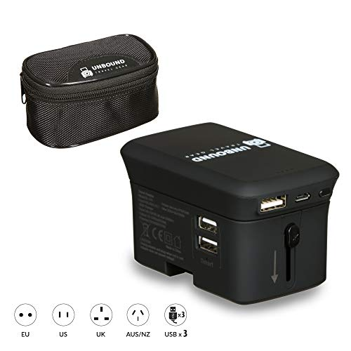 Unbound Universal Travel Power Adapter, Built-in Power Bank, 5A High Speed Smart USB Ports, Universal AC Socket, All-in-One Over 200 Countries, EU UK US European (Black)