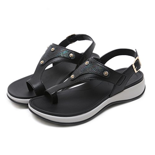 Ruiren Women Wedge Sandals,Summer Beach Shoes for Ladies Black