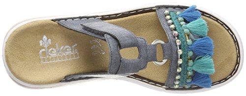 Blau Damen 618r6 Rieker Pantoletten Jeans RtFW7wq8