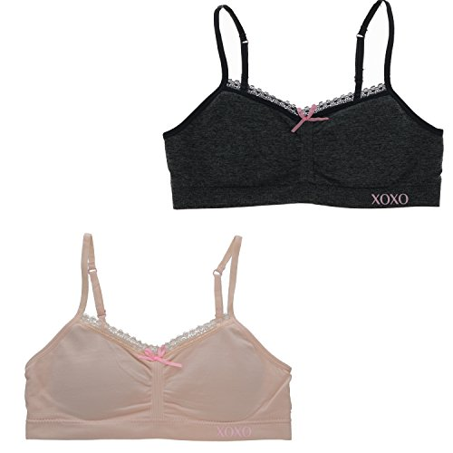 Price comparison product image XOXO Girl's Training Bra Set With Removable Pads, Lace Trim (2 Bras) (32 Medium, Grey, Pale Pink)