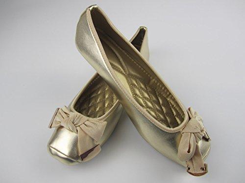Qooth Våren Mode Kvinnor Casual Skor Platt Klack Slip-on Balettskor Plus Storlek 42 Guld