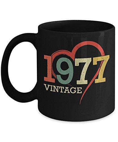 Shirt White Funny Vintage heart Made In 1977 40th Birthday Gift Coffee Mug 11oz Black -