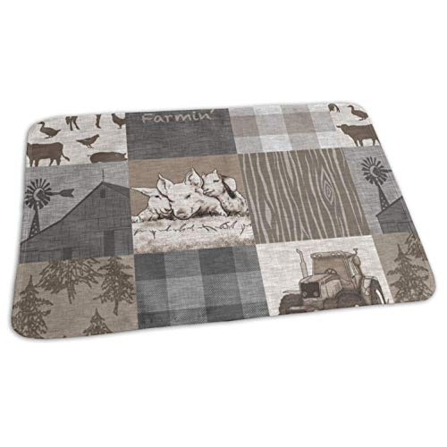 Farmin Rustic Soft Brown and Grey Farm Animal Quilt Baby Toddler Waterproof Washable Diaper Portable Reusable Changing Pad Mat 19.7x27.5