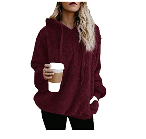 Dressin_Women's Long Sleeve Fashion Loose Solid Fluffy Winter Sweatshirt Top Hoodie Warm Hooded Pullover Jumper for $<!--$11.78-->