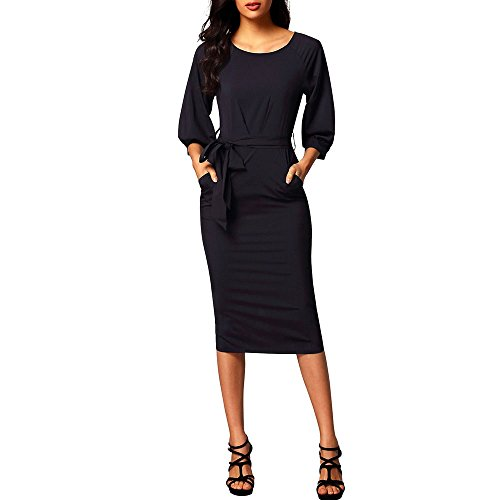MuCoo Women's Casual Crewneck Puff Sleeve Chiffon Pencil Party Midi Dress With Belt Black (Puff Sleeve Dance Dress)