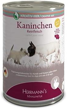 Herrmanns - Complemento alimenticio para Perros y Gatos Conejos, 100% Carne Pura, 400 g