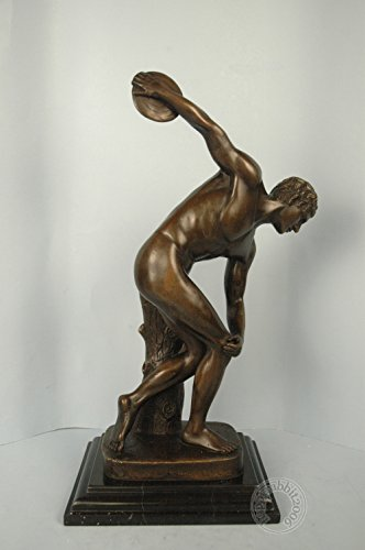 "Bronze Nude Man Throwing Disk Sculpture ""THE DISCUS THROWER"" signed: Myron"