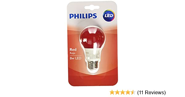 Philips 60 Watt Equivalent Red A19 Medium Base LED 8 Watt Equivalent Light Bulb