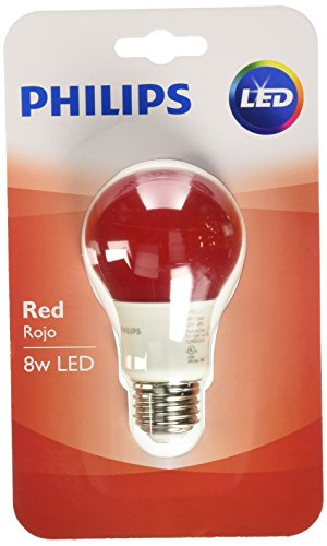 Philips 60 Watt Equivalent Red A19 Medium Base LED 8 Watt Equivalent Light Bulb (Red Light Led Bulb)