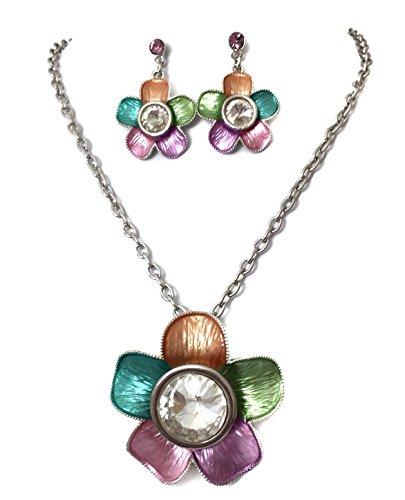 Pastel Rainbow Painted Big Clear Rhinestone Flower Necklace Earrings Set Pink Blue Purple