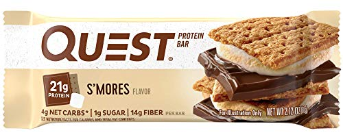 Quest Nutrition Protein Bar, S,mores, 20g Protein, 4g Net Carbs, 180 Cals, Low Carb, Gluten Free, Soy Free, 2.12oz Bar, 12 Count ()