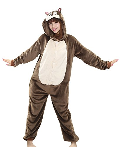 Tonwhar Chipmunks Sleepsuit Pajamas Kigurumi Cosplay Costume Homewear Lounge Wear (L(height:165cm-173cm), Dark (Chipmunk Costumes)