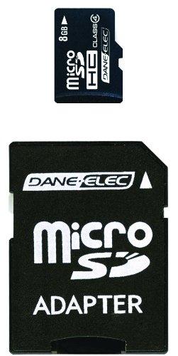 Dane Elec Camera Memory Cards (Dane-Elec 8 GB Class 4 microSDHC Flash Memory Card with SD Adapter DA-2IN1-08G-R)