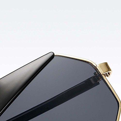 Full de Lunettes géométrique Couleur Lens Metal Noir polarisées Bleu soleil Frame LVZAIXI q0wAd5q