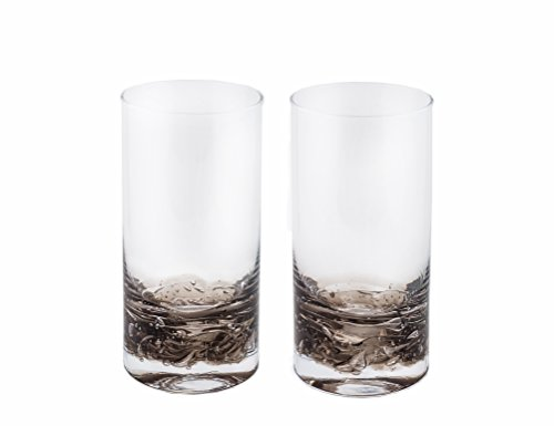 - NÄU Zone Jovian Collection Highball Glasses [Set of 2]: Beautiful Hand-Blown 12-oz Cocktail Glasses, Perfect for Cocktails, Water, Beer, Juice, or Any Mixed Drink - [Charcoal]