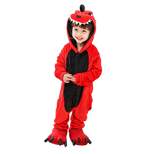 Kids Dinosaur Onesie Pajamas Halloween Costume Child Cosplay Pyjama Red 10-12 Years -